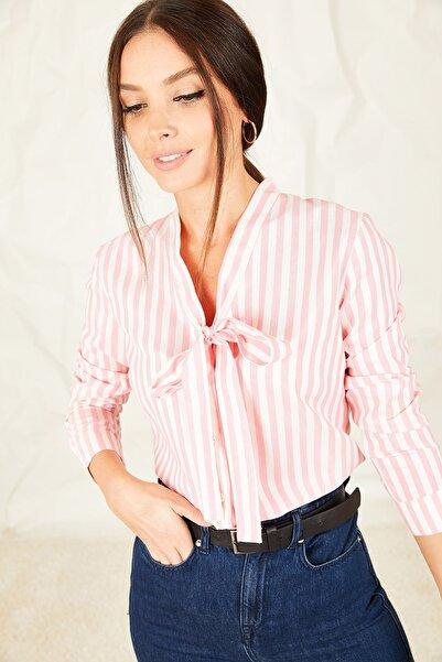 armonika Kadın Pembe Kalın Çizgili Bağlamalı Gömlek ARM-21K001004