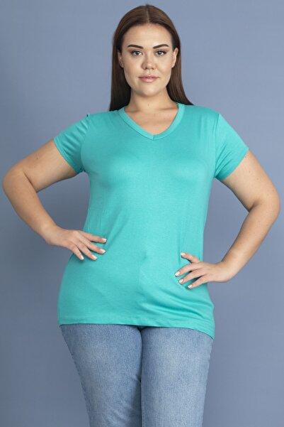 Şans Kadın Turkuaz V Yakalı Basic Bluz 65N18886