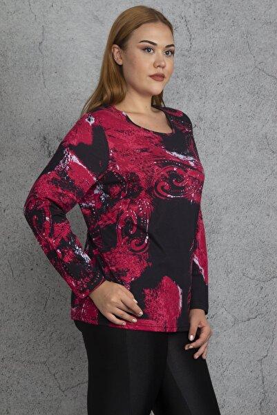 Şans Kadın Renkli Pamuklu Kumaş Desenli Bluz 65N18519