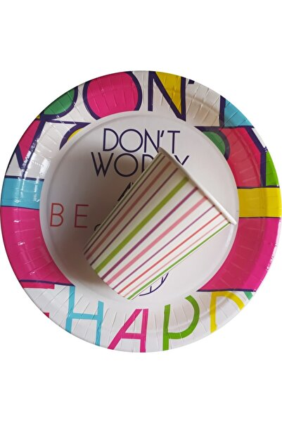 Soobe Lines World Don't Worry And Be Happy Karton Bardak Tabak 8 Kişilik