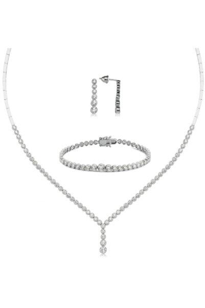 Valori Jewels Top Montür, 9.3 Karat Swarovski Zirkon Taşlı, Süzme Gümüş Su Yolu Set