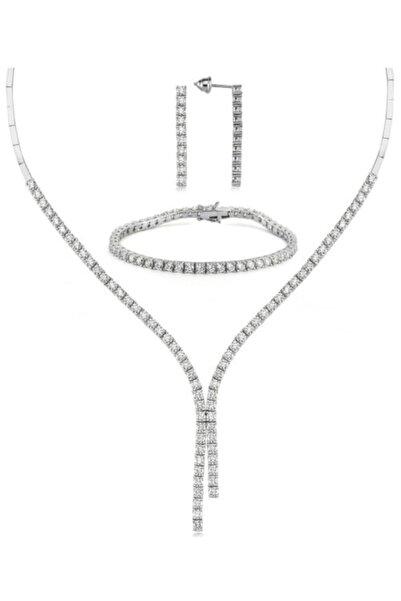 Valori Jewels Diamond Montür, 15.6 Karat Swarovski Zirkon Taşlı, Çift Bitiş Gümüş Su Yolu Set