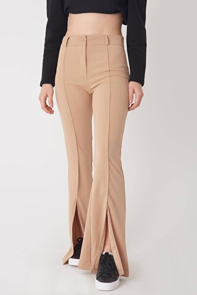 Addax Kadın Koyu Bej Yırtmaç Detaylı Pantolon Pn0440 - İ1 Adx-0000023128