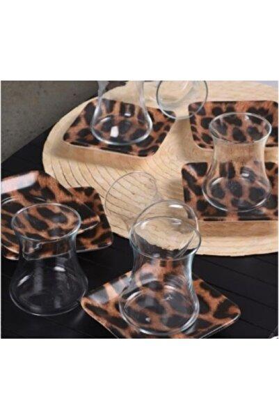 Keramika Leopar Desenli Cam Bardak Takımı