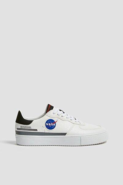Pull & Bear Erkek Beyaz Nasa Logolu Spor Ayakkabı 12225640