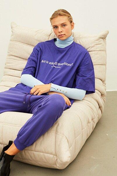 İpekyol Kadın Mor Slogan Baskılı Tişört