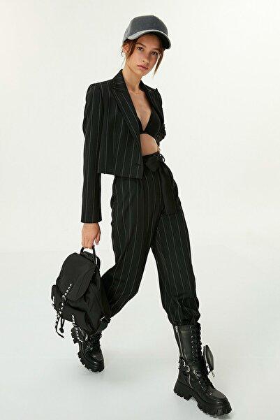Twist Kadın Siyah Çizgili Pantolon