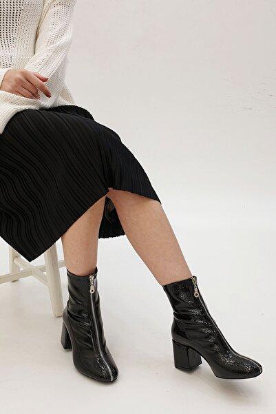 Marjin Miven Kadın Topuklu Botsiyah Rugan