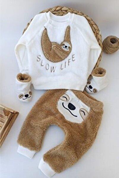 Kahve Panduflu Tembel Hayvan Fügürlü Kışlık Welsoft Panduflu Lüx Bebek Takımı 6-9-12 Ay