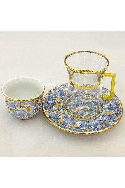 Paşabahçe 18 Parça Çay Ve Mırra Seti 24 Ayar Altın Desenli