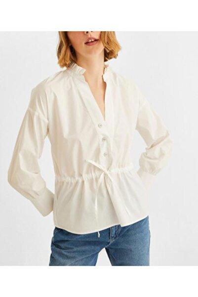 İpekçe  Kadın Beyaz Minimalist Romantik Fırfırlı Gömlek