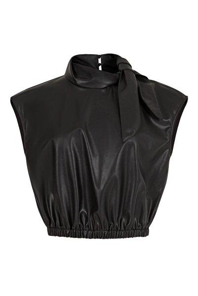 Nocturne Kadın Siyah Yakası Bağlamalı Deri Bluz Kadın N21K-6302-0002