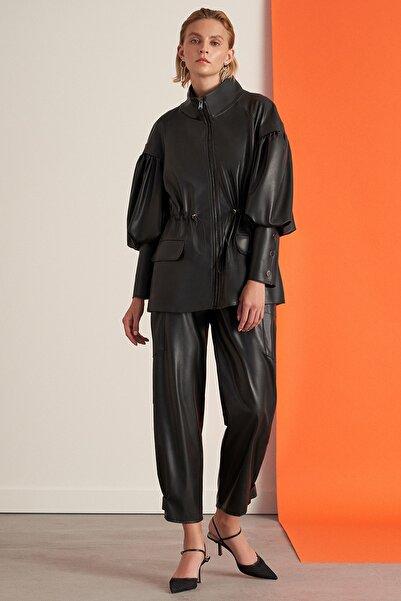 Nocturne Kadın Siyah Paçası Çıtçıtlı Deri Pantolon Kadın N21K-3315-0002