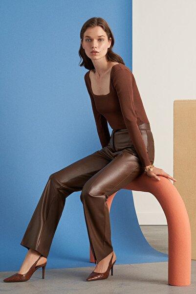 Nocturne Kadın Kahverengi Paçası Yırtmaçlı Deri Pantolon Kadın N21K-3325-0094