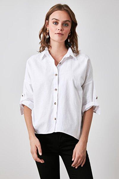 TRENDYOLMİLLA Ekru Basic Gömlek TWOAW21GO0817