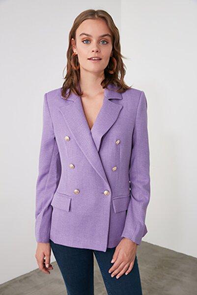 TRENDYOLMİLLA Lila Düğme Detaylı Blazer Ceket TWOAW21CE0345