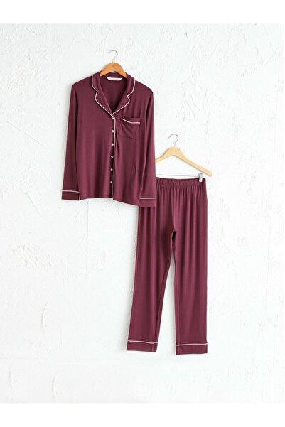 LC Waikiki Kadın Bordo Pijama Takım