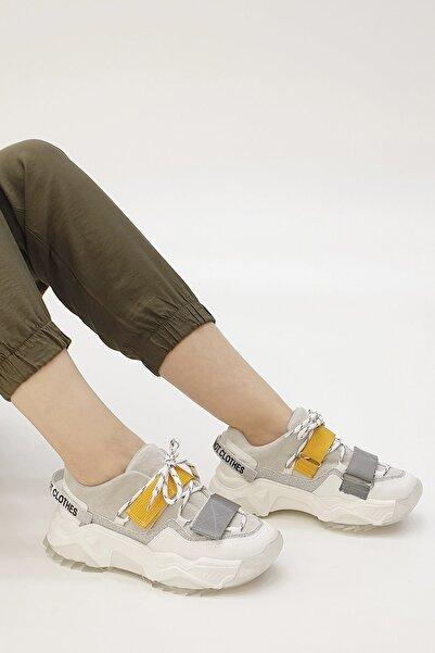 Marjin Kadın Beyaz Cakir Dolgu Topuk Spor Ayakkabı