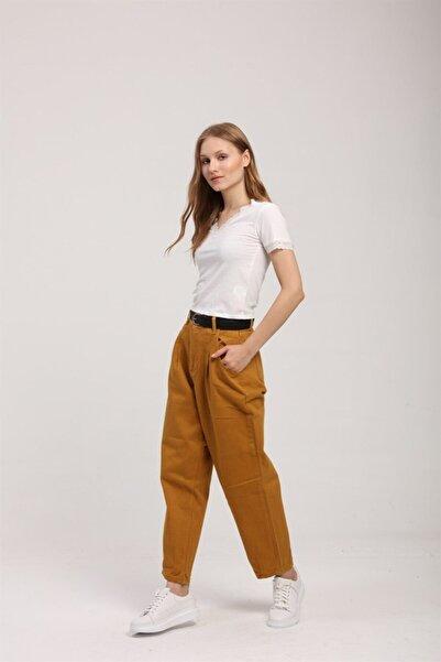Z GİYİM Kadın Hardal Sarısı Yüksek Bel Yıkamalı Slouchy Kot Pantolon