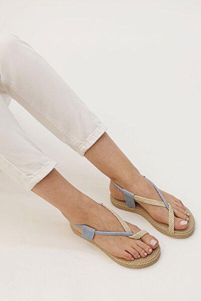 Marjin Kadın Mavi Süet Eylivo Parmak Arası Sandalet