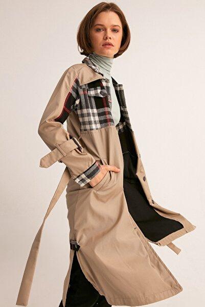 Fulla Moda Kadın Gri Önü Ekose Trençkot