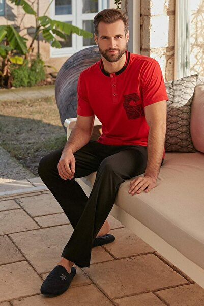 DeFacto Eros Erkek Kırmızı Pijama Takım Ers00468nsrd233