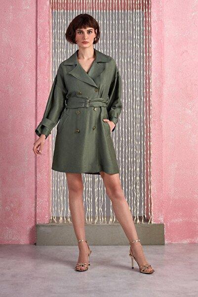 Nocturne Kadın Haki Geniş Yaka Kruvaze Ceket Elbise