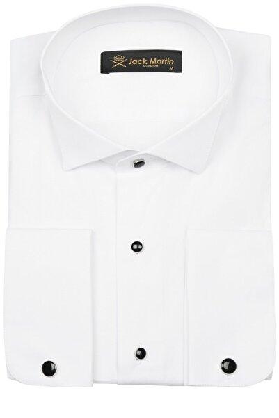 Jack Martin Beyaz Slim Fit Ata Yaka Kol Düğmeli Damatlık Gömlek
