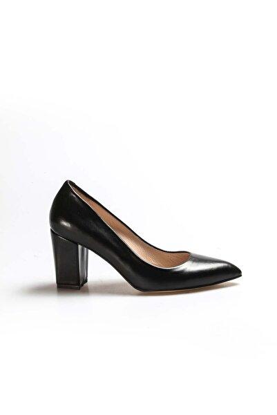 FAST STEP Hakiki Deri Siyah Kadın Yüksek Topuk Ayakkabı 002za052