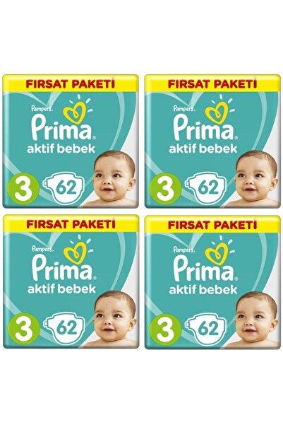 Prima Bebek Bezi Aktif Bebek 3 Beden 62 X 4 Lü 248 Adet Fırsat Paketi
