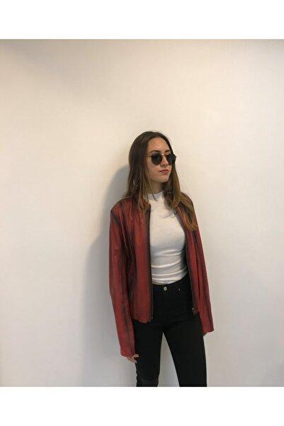 ASUS Kadın Kırmızı Hakiki Deri Ceket Luısa