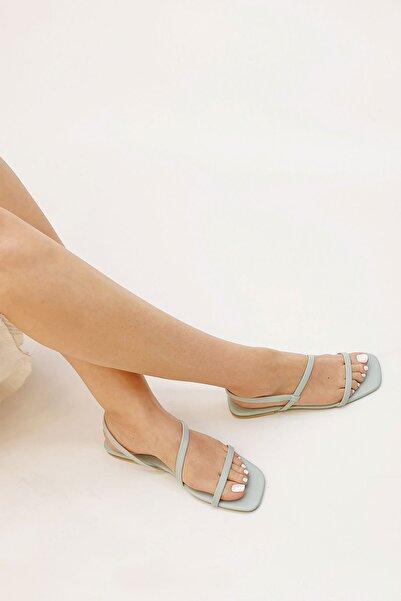 Marjin Kadın Kabel Günlük Düz  Su Yeşili Sandalet