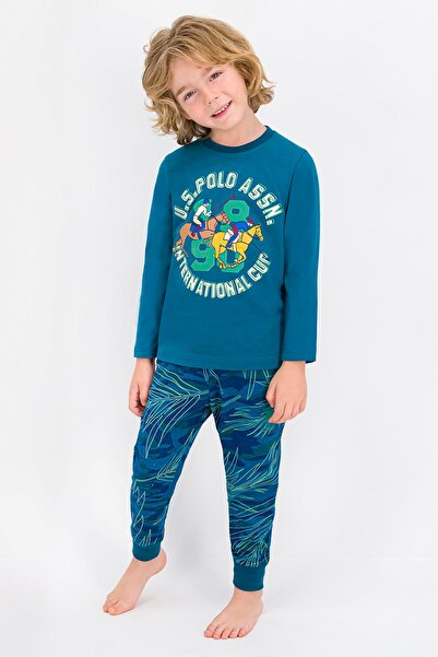 U.S. Polo Assn. U.S. Polo Assn Lisanslı Koyu Petrol Erkek Çocuk Pijama Takımı