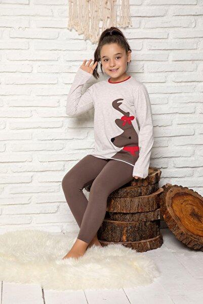 ELİTOL Kız Çocuk Bej Melanj Nakişli Pamuklu Likrali Pijama Takim