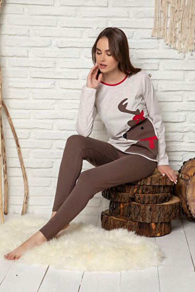 ELİTOL Kadın Bej Melanj Nakişli Pamuklu Likrali Pijama Takim