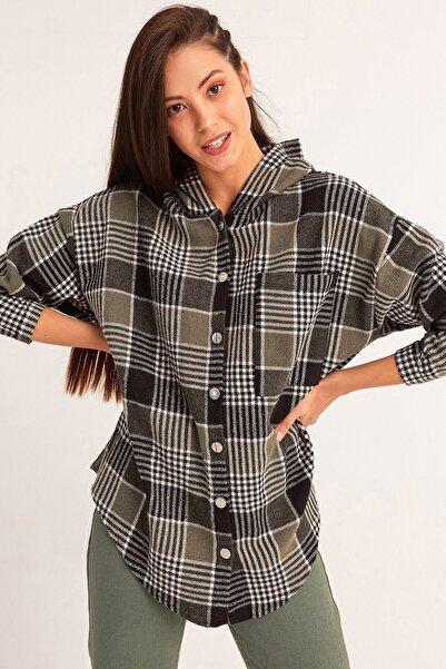 Fulla Moda Kadın Haki Kapüşonlu Oduncu Gömlek