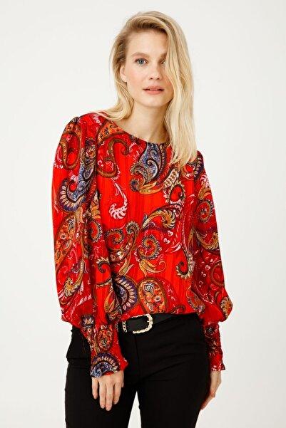 Ekol Kadın Kırmızı Sıfır Yaka Desenli Bluz 03009