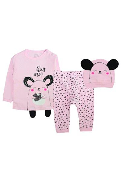 İmaj Kız Bebek Pembe Fare Baskılı 3'lü Pijama