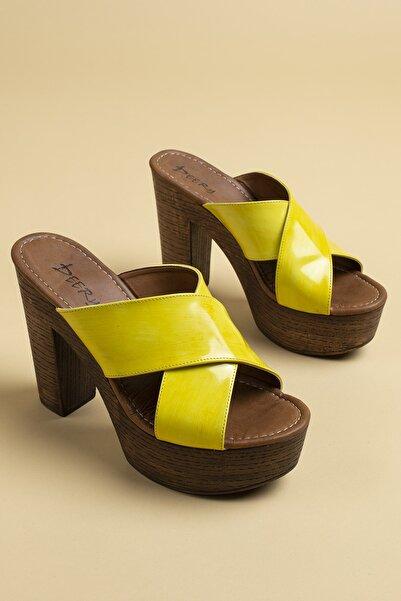 Deery Kadın Sarı Hakiki Deri Terlik