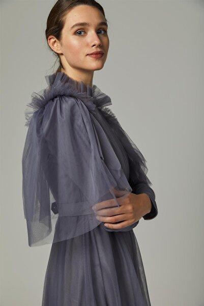 Loreen Kadın Antrasit Tül Elbise 22226-50