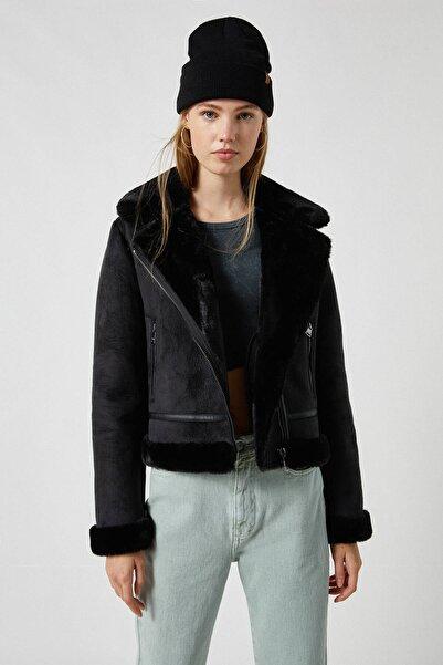 Pull & Bear Kadın Siyah Çift Yüzlü Kısa Ceket 09710334