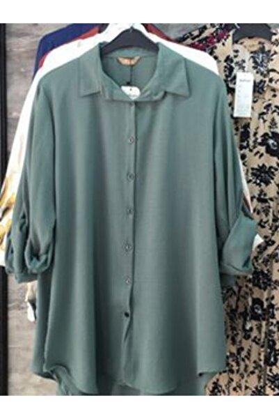 AYYILDIZ Kadın Yeşil Klasik Yaka Gömlek