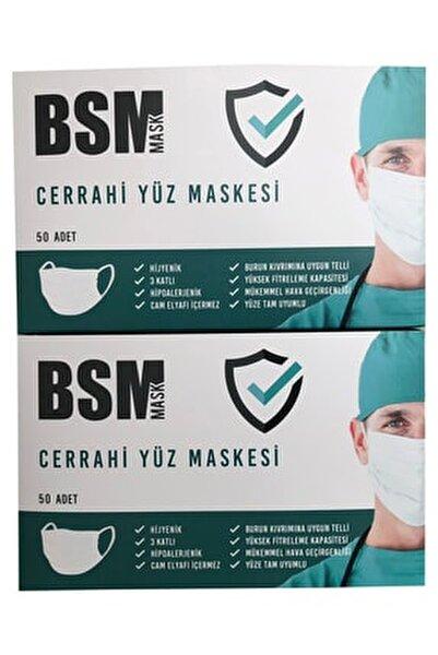 2 kutu 100 Adet Lastikli Burun Telli CE Belgeli Ultrasonik Gövde 3 Katlı Cerrahi Maske