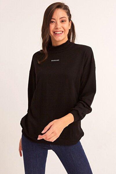 Fulla Moda Kadın Siyah Yarım Balıkçı Sweatshirt