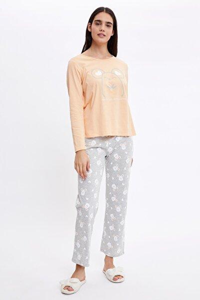 DeFacto Fare Baskılı Uzun Kollu Pijama Takımı