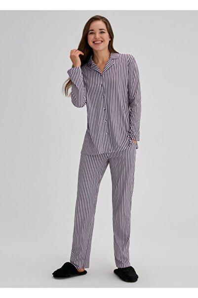 Dagi Kadın Lila Pamuklu Çizgili Gömlek Uzun Kol Pijama Takımı