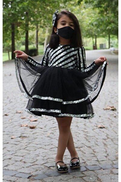 Riccotarz Kız Çocuk Şerit Parıldayan Maskeli Gümüş Siyah Abiye