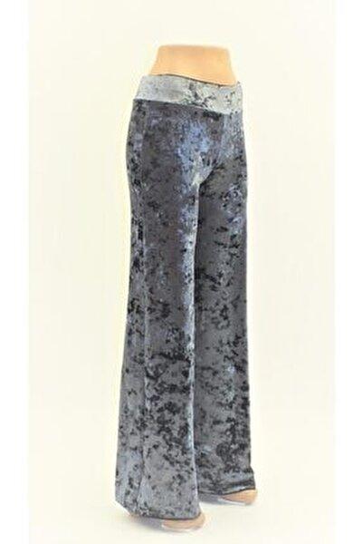 Kadın Mavi Melanj Kadife Yüksek Kemer Likralı Pantolon