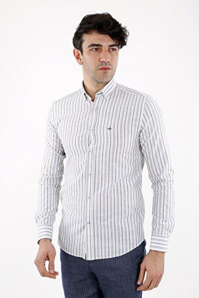 Jakamen Erkek Beyaz Yeşil Slim Fit Gömlek Normal Manşet