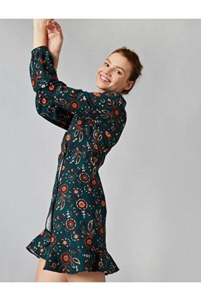 Koton Kadın Pamuk Volanli Wrap Çiçek Desenli Kisa Elbise